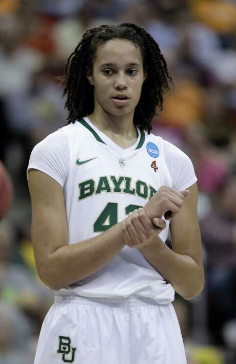 Baylor center Brittney Griner looks on during the first half of an NCAA women's tournament regional semifinal college basketball game against Georgia Tech, Saturday, March 24, 2012, in Des Moines, Iowa. (AP Photo/Charlie Neibergall) Photo: Charlie Neibergall / AP