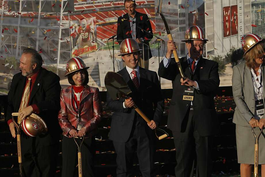 The York family front and center as 49ers ownership and Santa Clara elected officials broke ground on the new site of the 49ers Stadium in Santa Clara, Calif., on Thursday, April 19, 2012. Photo: Carlos Avila Gonzalez, The Chronicle
