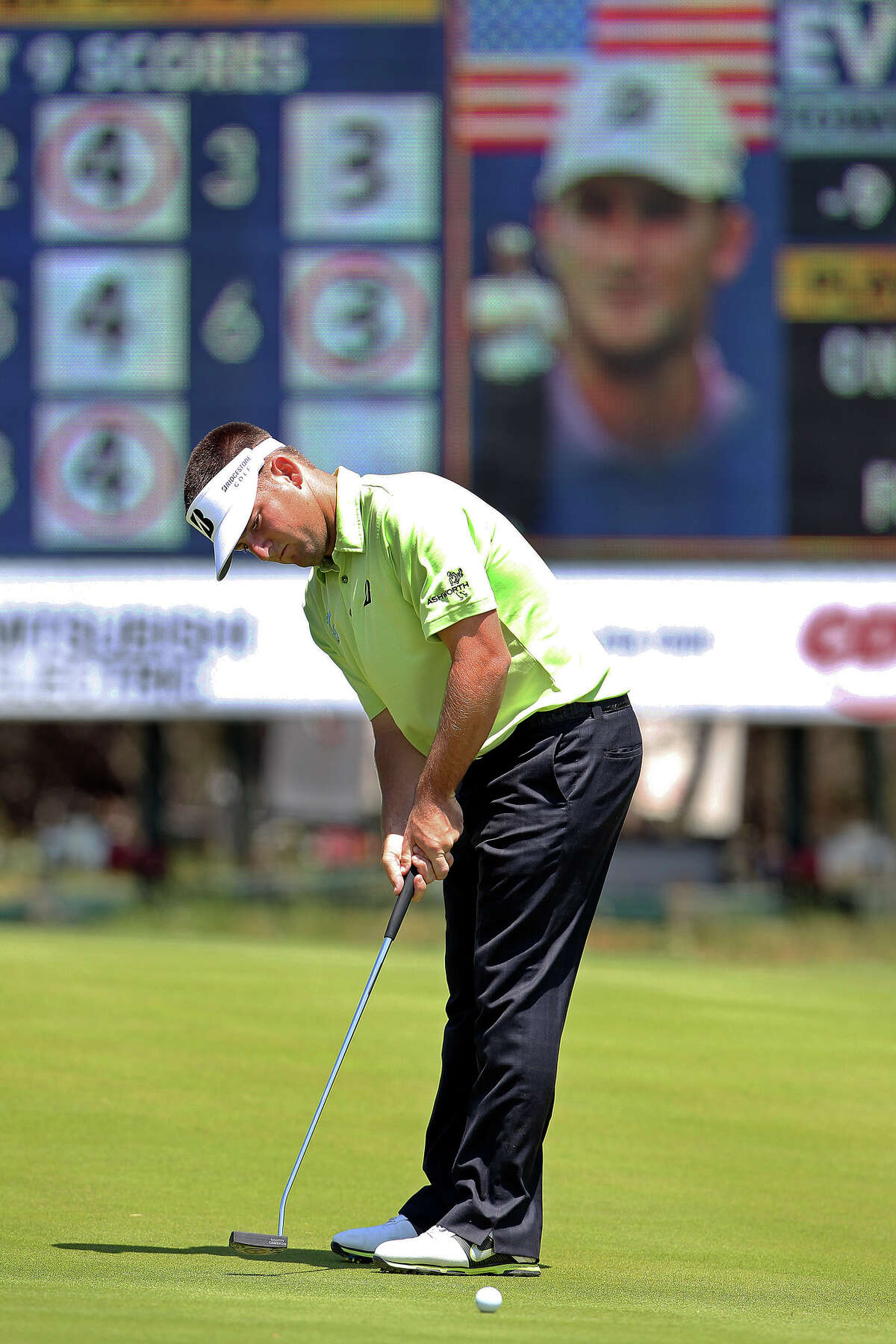 Matt Every putts on No. 9 during the first round of the Valero Texas Open on Thursday. The 2009 Nationwide Tour Champion had to putt just 23 times on the arduous AT&T Oaks Course.
