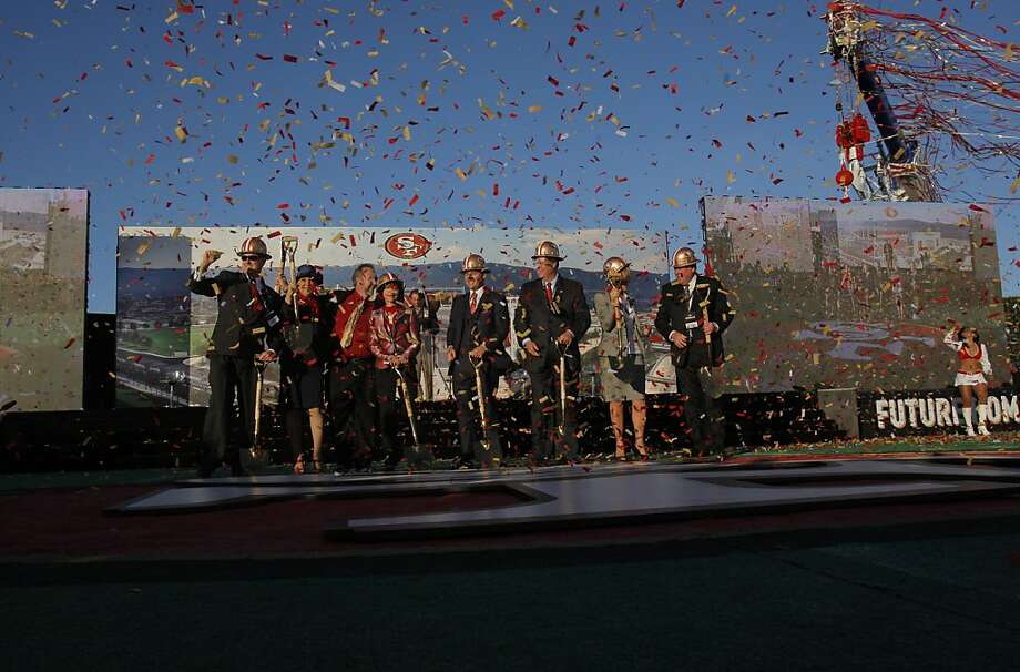 Members of the San Francisco 49ers ownership and Santa Clara officials hold a ground-breaking ceremony  for the team's new stadium, which will end the franchise's more than 60-year link to the city by the bay. Photo: Carlos Avila Gonzalez, The Chronicle