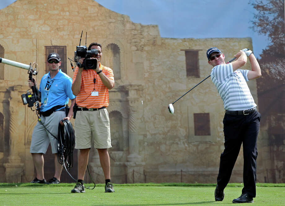 Troy Matteson hits his tee shot on the No. 18 hole during the first round of the 2012 Valero Texas Open on Thursday, April 19, 2012. Photo: TOM REEL, San Antonio Express-News / San Antonio Express-News