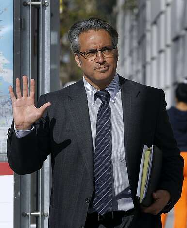 Ross Mirkarimi waves as he arrives at the Civic Center Courthouse in San Francisco, Calif. on Thursday, April 19, 2012, to attend a hearing where Judge Harold E. Kahn denied his request to remove City Attorney Dennis Herrera's office from the misconduct case against Mirkarimi, citing an alleged conflict of interest. Photo: Paul Chinn, The Chronicle