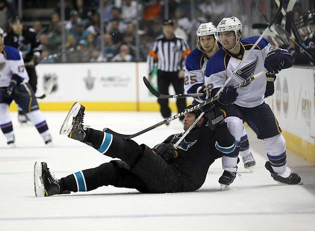 Kevin Shattenkirk #22 of the St. Louis Blues collides with Brad Winchester #10 of the San Jose Sharks in Game Four of the Western Conference Quarterfinals during the 2012 NHL Stanley Cup Playoffs at HP Pavilion on April 19, 2012 in San Jose, California. Photo: Ezra Shaw, Getty Images