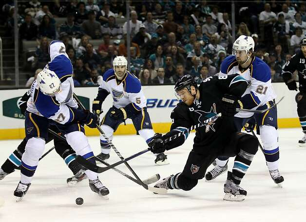 Joe Pavelski #8 of the San Jose Sharks puts a shot on goal against the St. Louis Blues in Game Four of the Western Conference Quarterfinals during the 2012 NHL Stanley Cup Playoffs at HP Pavilion on April 19, 2012 in San Jose, California. Photo: Ezra Shaw, Getty Images
