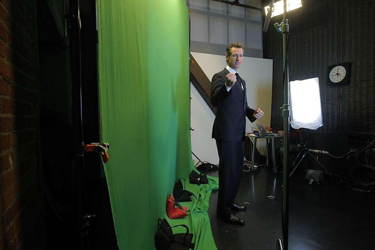 California Lt. Governor Gavin Newsom jokes around between takes at Current TV studios, San Francisco.