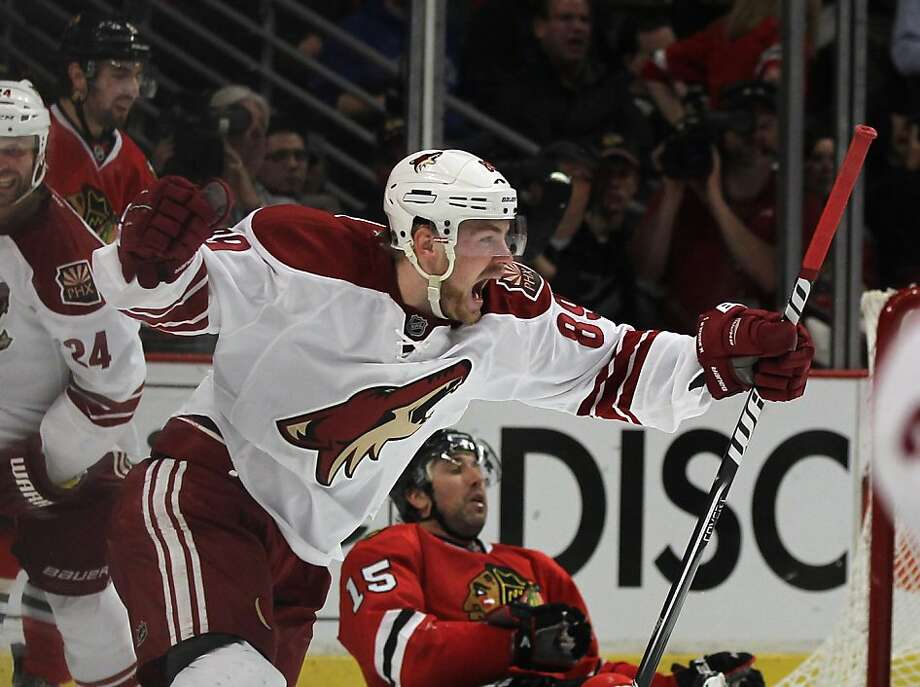 CHICAGO, IL - APRIL 19: Mikkel Boedker #89 of the Phoenix Coyotes celebrates his game-winning goal in overtime against the Chicago Blackhawks in Game Four of the Western Conference Quarterfinals during the 2012 NHL Stanley Cup Playoffs at the United Center on April 19, 2012 in Chicago, Illinois. The Coyotes defeated the Blackhawks 3-2 in overtime. (Photo by Jonathan Daniel/ Getty Images) Photo: Jonathan Daniel, Getty Images