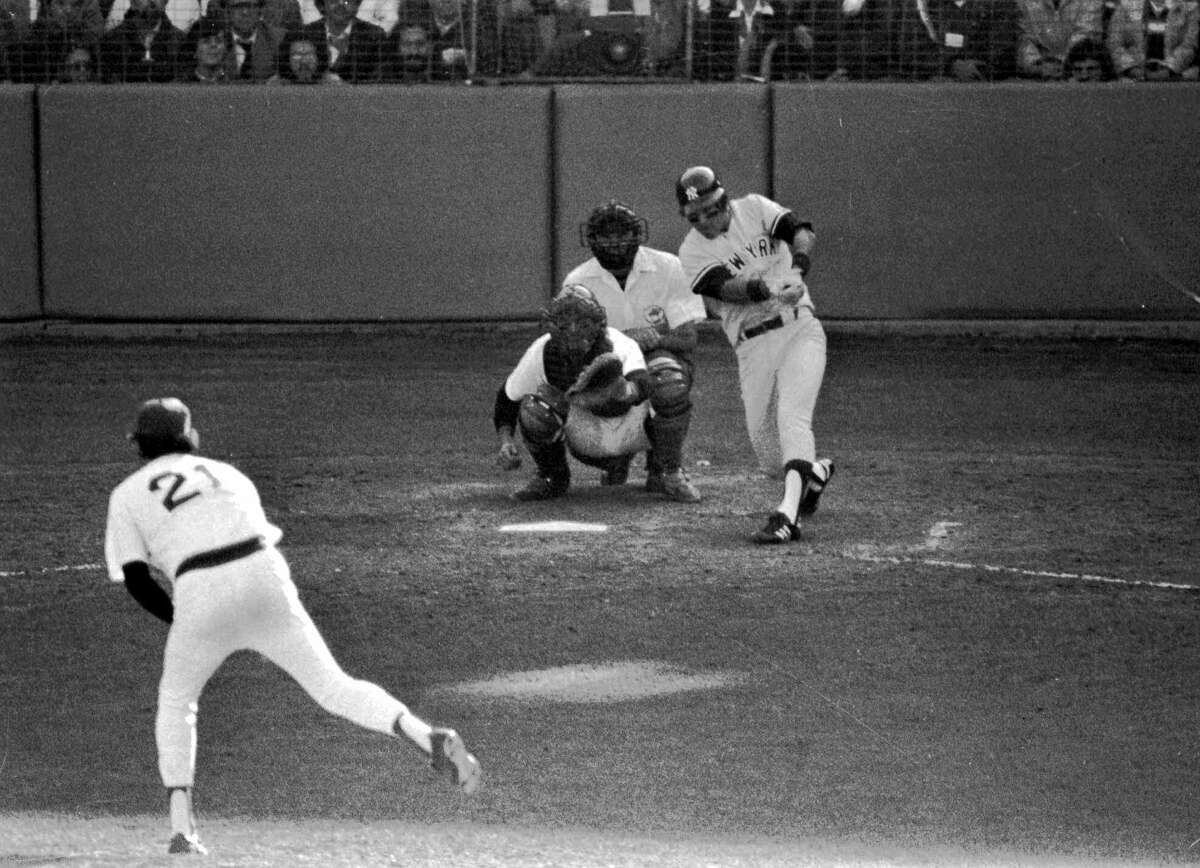 FILE--New York Yankees Bucky Dent hits a home run off a pitch from Boston Red Sox Mike Torrez in the seventh inning of Oct. 2, 1978 American League Playoff game at Fenway Park. Beantown vs. the Big Apple. Baseball's best rivalry is about to resume with, oh, only about 80 years or so of history coming along for the ride.     The tension between the Red Sox and Yankees began innocently enough, with the sale in 1920 of an oddly shaped outfielder so that Boston owner Harry Frazee could fund the Broadway show ``No, No, Nanette.'' Boston catcher is Carlton Fisk, and Umpire is Don Denkinger. (AP photo/stf)