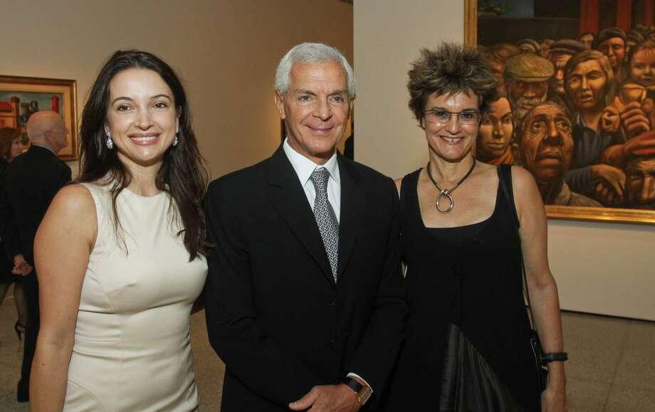 Clarice and Eduardo Costantini, from left, with curator Mari Carmen Ramirez Photo: Gary Fountain / Copyright 2012 Gary Fountain.