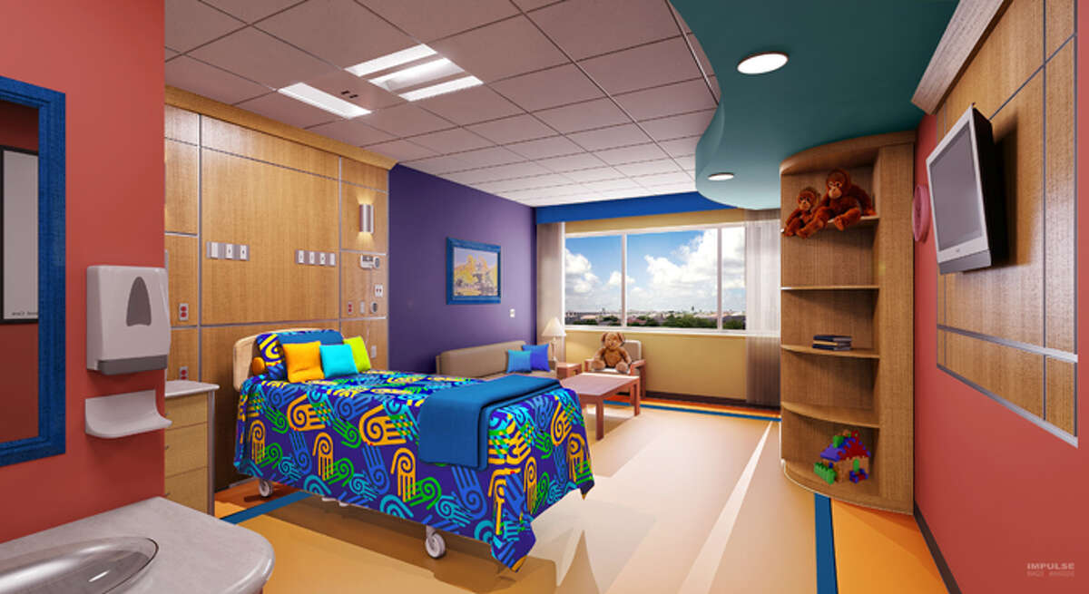 Artist rendering showing the a patient room of Children's Hospital of San Antonio.