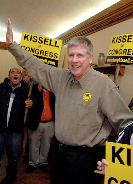 In this Nov. 8, 2006 photo, Larry Kissell, then Democratic nominee for Congress in North Carolina's 8th District, greets his supporters in Biscoe, N.C. Photo: Karen Tam / AP