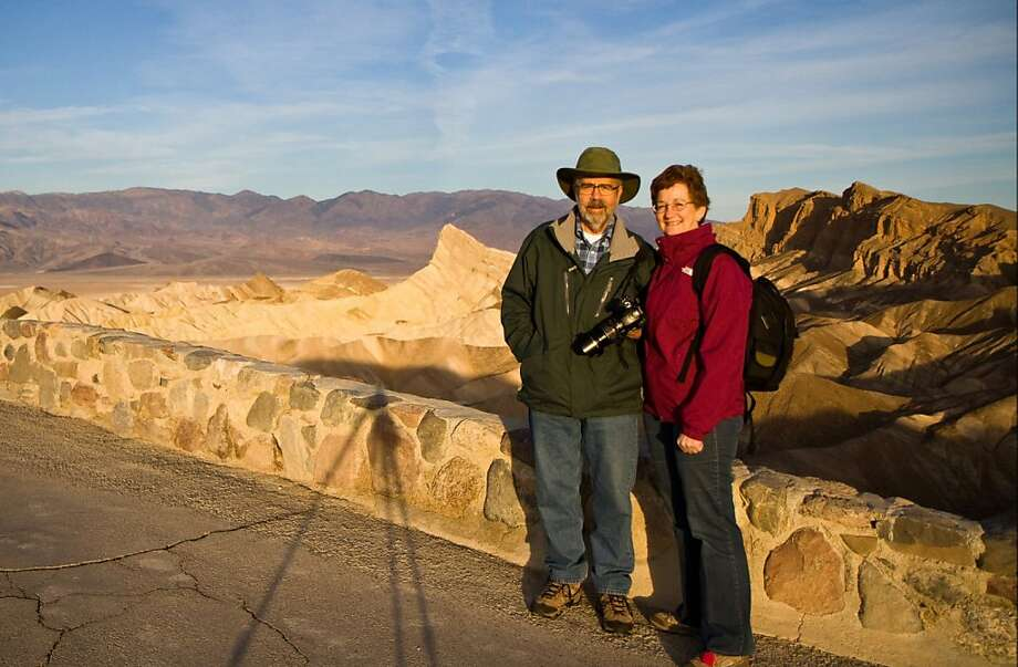 John and Jill Clardy of Redwood City at sunrise; Zabriskie Point, Death Valley National Park, California Photo: Jill Clardy