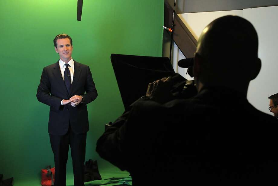 California Lt. Governor Gavin Newsom cuts some promotional spots at the Current TV studios in San Francisco, Calif., on Wednesday, April 18, 2012. San Francisco-based Current TV has turned to a new and photogenic host to spice up its lineup — Newsom, just weeks after its high profile split with talk show host Keith Olbermann. Photo: Carlos Avila Gonzalez, The Chronicle