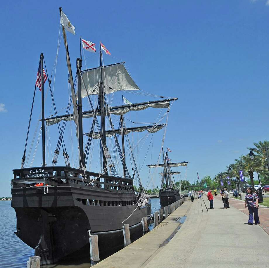 Replicas of the Pinta and Nina, known as Caravel wooden ships that Christopher Columbus sailed to America, docked in Lake Charles Thursday April 19, 2012 behind the Civic Center on Lakeshore Drive. The replicas have been touted as the most precise copies of the ships to have been made.   Dave Ryan/The Enterprise Photo: Dave Ryan
