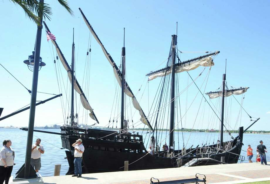 The Niña and the Pinta have pulled up to the main dock at Captain's Cove in Bridgeport. Near-exact replicas of the legendary caravels of Christopher Columbus, built of Brazilian hardwoods using the same shipbuilding techniques employed in the 15th century. They'll be open to the public Friday, Saturday and Sunday. Find out more.  Photo: Dave Ryan