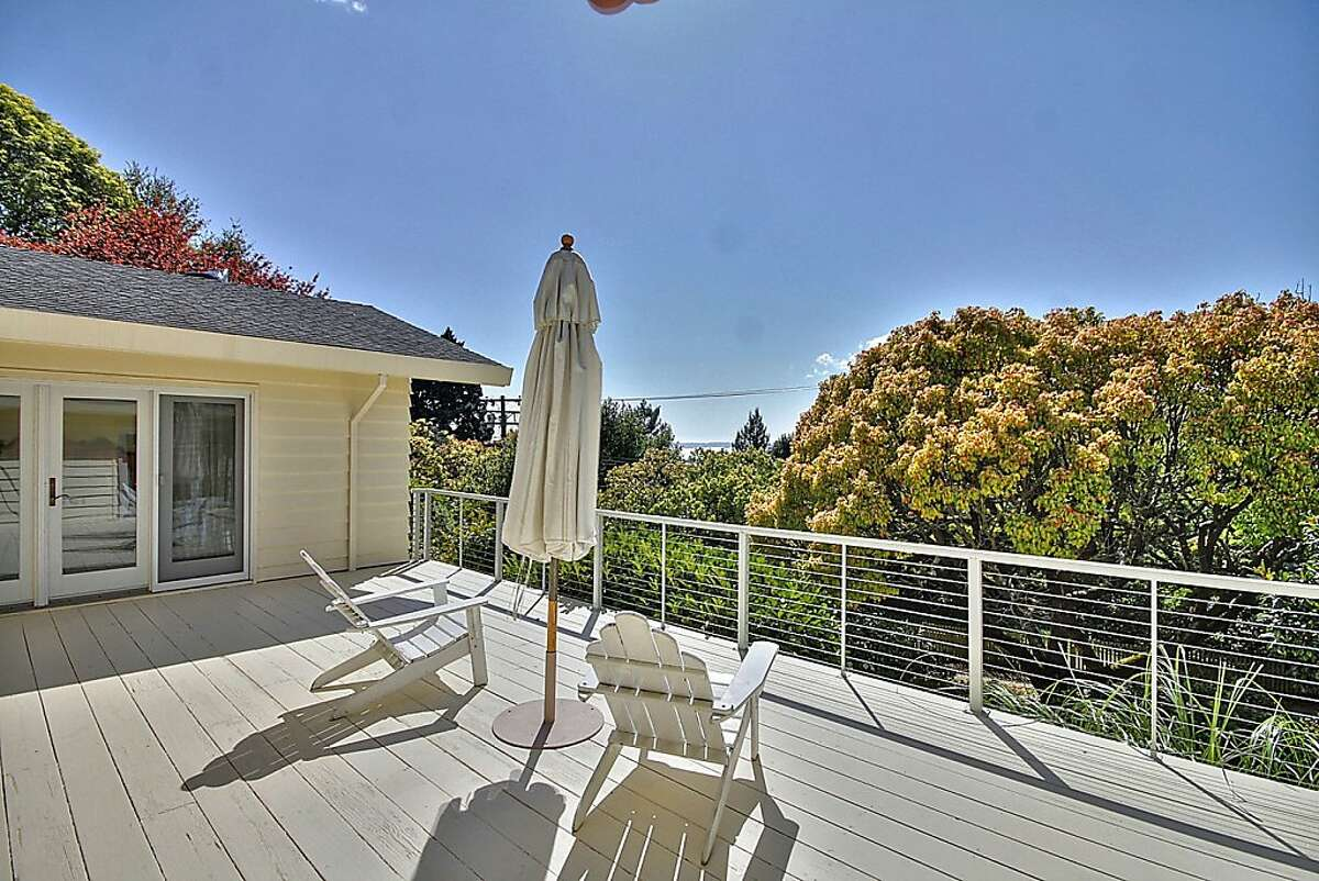 Views from the backyard deck of the Berkeley Hills home include the bay, San Francisco and the Golden Gate Bridge.
