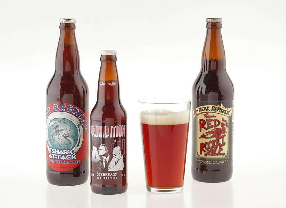 From left, Port Brewing Shark Attack Double Red Ale, Bear Republic Red Rocket Ale, and Speakeasy Prohibition Ale. Photo: Craig Lee, Special To The Chronicle