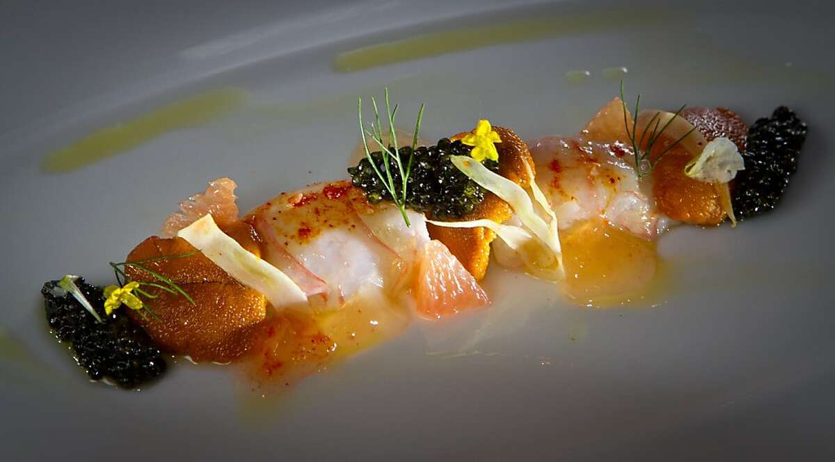Scottish Langoustine Crudo at Quince Restaurant in San Francisco, Calif., is seen on Thursday April 6th, 2012.