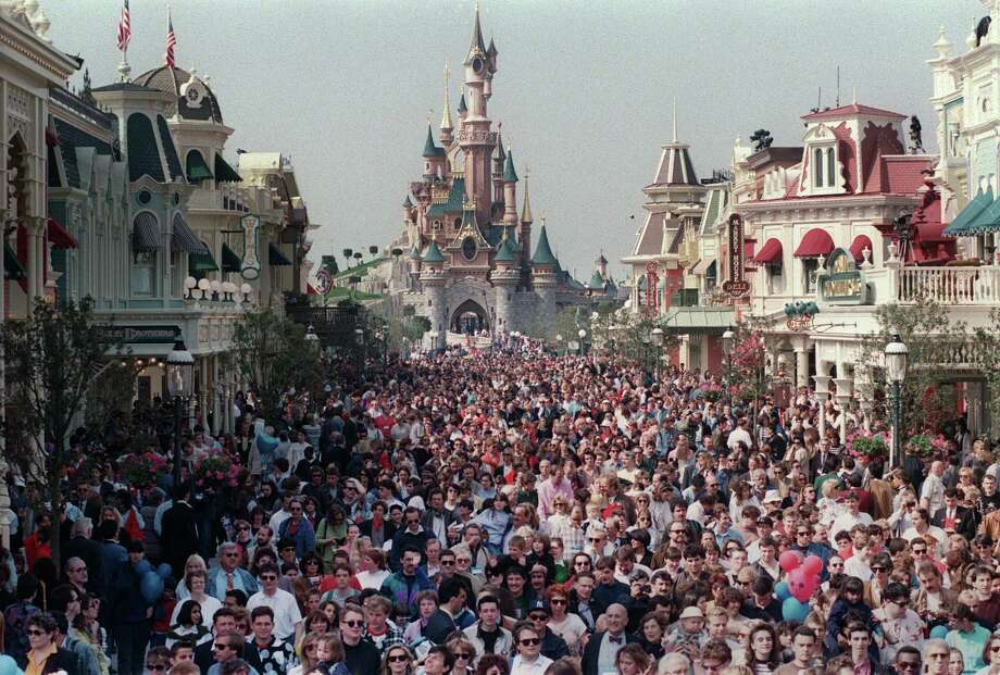 """April 12, 1992: The first Disney theme park in Europe opens in Paris. It was, famously, a flop. Before it was known as Disneyland Paris, it was called the """"Euro Disney Resort,"""" which opened to massive crowds in April of 1992. Photo: PIERRE VERDY, AFP/Getty Images / 2012 AFP"""