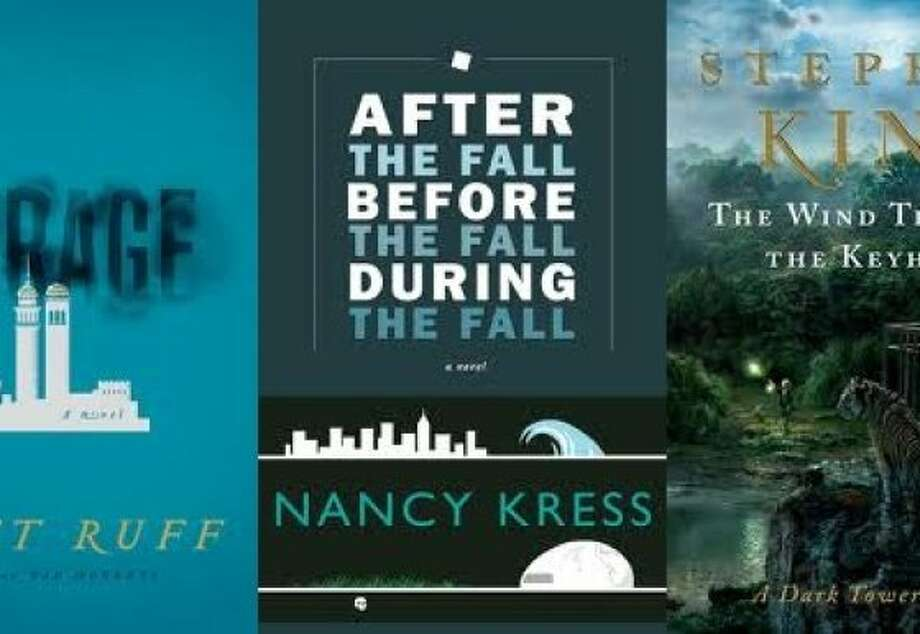 "From left: ""The Mirage,"" by Matt Ruff; ""After the Fall Before the Fall During the Fall,"" by Nancy Kress; ""The Wind Through the Keyhole,"" by Stephen King"