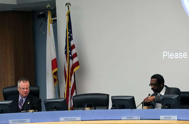 Alameda County Supervisors Scott Haggerty, left, and Nate Miley sit next to Nadia Lockyer's empty seat during their scheduled meeting in Oakland Tuesday March 13, 2012. Photo: Lance Iversen, The Chronicle