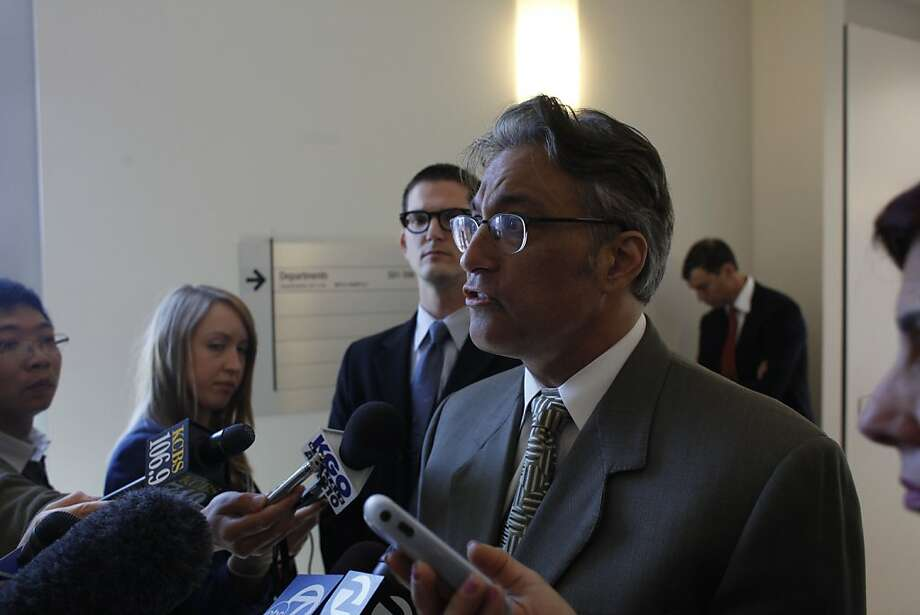 Suspended sheriff Ross Mirkarimi answers questions from the media at the San Francisco Civic Center Courthouse with on Friday, April 20, 2012 in San Francisco, Calif. Photo: Lea Suzuki, The Chronicle