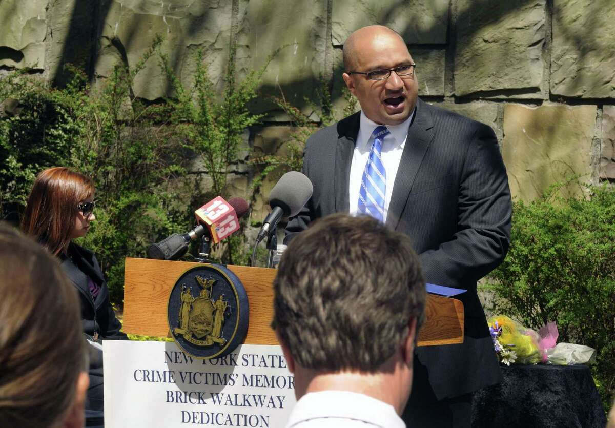 Albany County District Attorney David Soares speaks during the annual Memorial Brick Dedication Ceremony in honor of victims of crime all across New York State in Albany N.Y. Friday April 20, 2012. (Michael P. Farrell/Times Union)