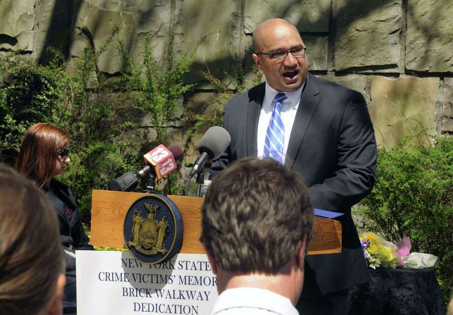 Albany County District Attorney David Soares speaks during the annual Memorial Brick Dedication Ceremony in honor of victims of crime all across New York State in Albany N.Y. Friday April 20, 2012. (Michael P. Farrell/Times Union) Photo: Michael P. Farrell