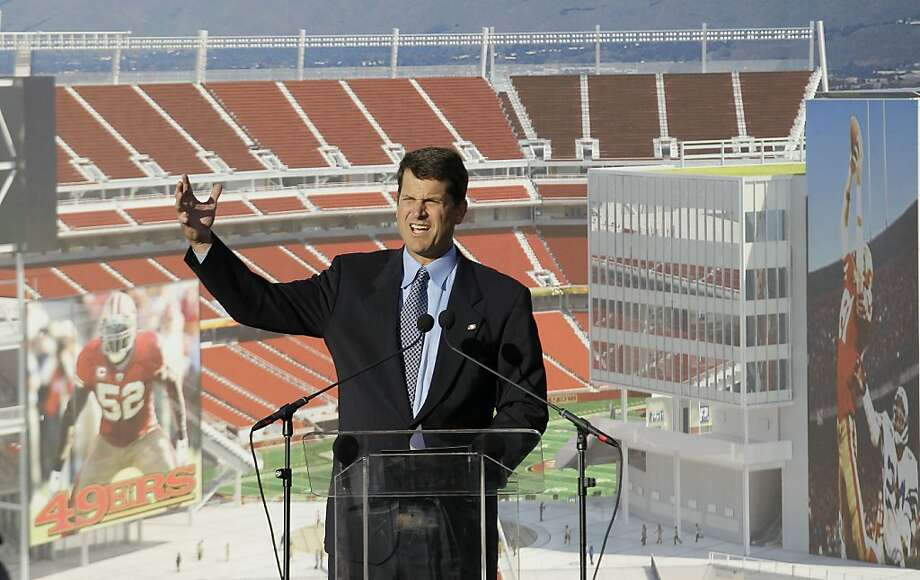 San Francisco 49ers head coach Jim Harbaugh speaks at a groundbreaking ceremony at the construction site for the San Francisco 49ers' NFL football stadium in Santa Clara, Calif., Thursday, April 19, 2012. (AP Photo/Jeff Chiu) Photo: Jeff Chiu, Associated Press