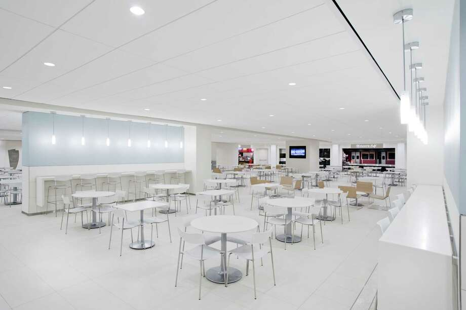 The renovated food court at the Allen Center office complex features tile flooring, a noise-dampening ceiling and other upgrades. The food court had not had any major improvements for two decades.