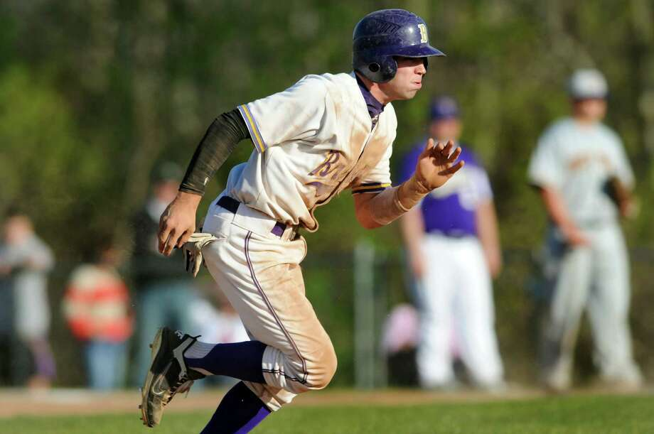 CBA's Matt Sand (7) gathers speed as he steals third base during their baseball game against Troy on Friday, April 20, 2012, at Christian Brothers Academy in Colonie, N.Y. (Cindy Schultz / Times Union) Photo: Cindy Schultz / 00017290A
