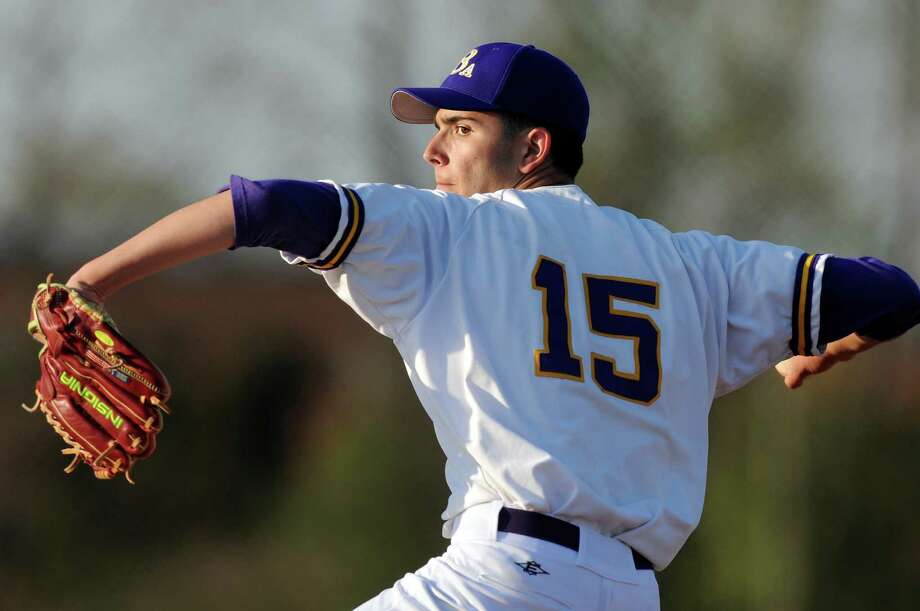 CBA's Jackson Raimo (15) winds up a pitch during their baseball game against Troy on Friday, April 20, 2012, at Christian Brothers Academy in Colonie, N.Y. (Cindy Schultz / Times Union) Photo: Cindy Schultz / 00017290A