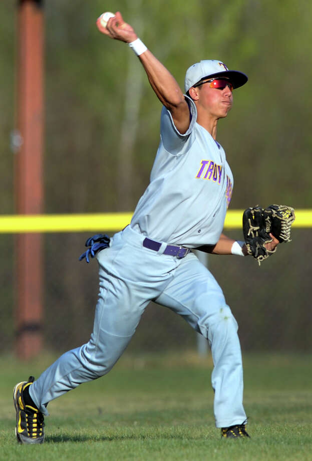 Troy outfielder Joe Jordan (9) makes the catch and throws it to the infield during their baseball game against CBA on Friday, April 20, 2012, at Christian Brothers Academy in Colonie, N.Y. (Cindy Schultz / Times Union) Photo: Cindy Schultz / 00017290A