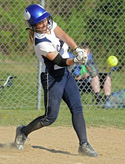 Columbia's Jess Adams swings for the ball during a softball game against Niskayuna on April 20, 2012