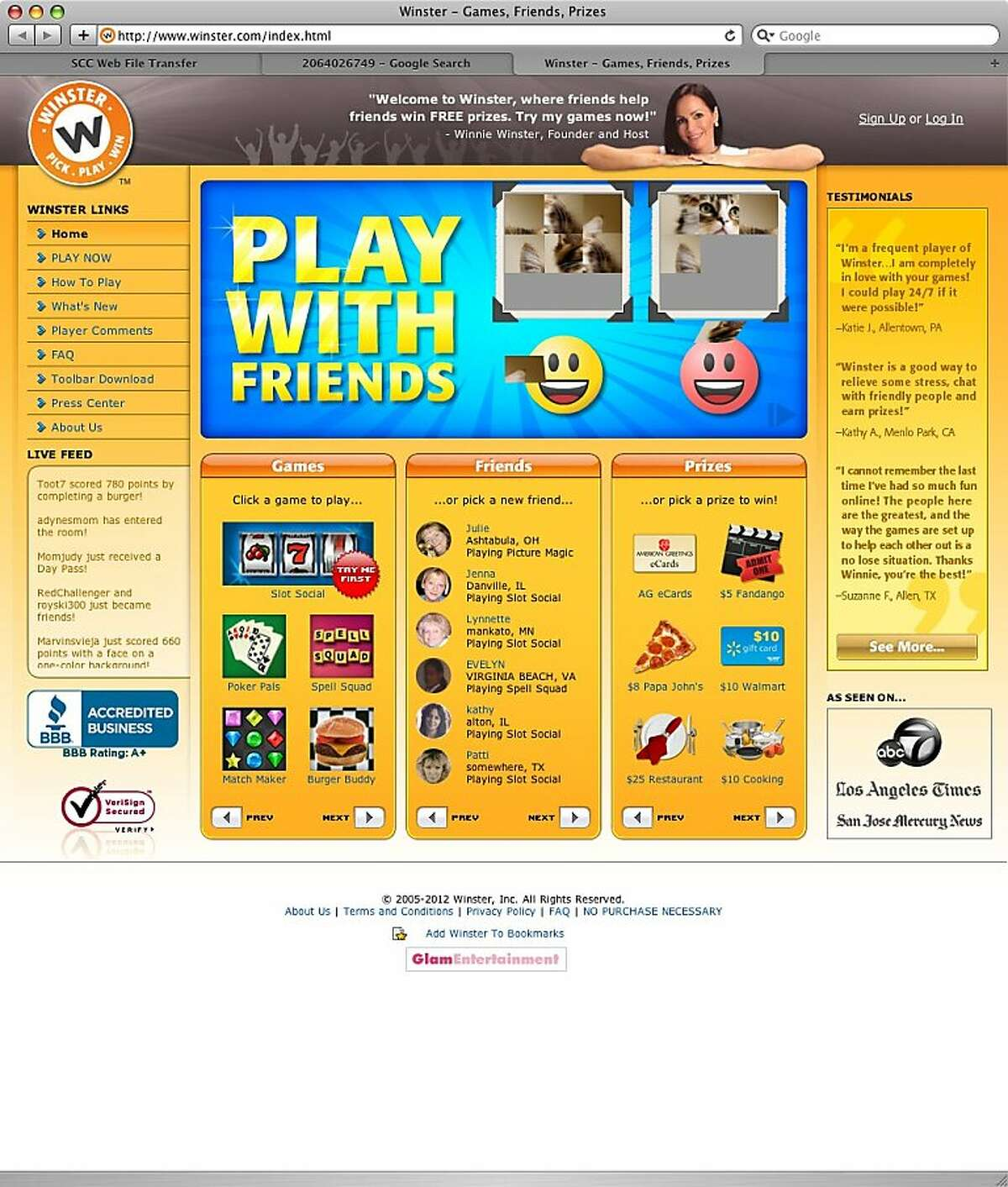 An undated screenshot of Winster.com.