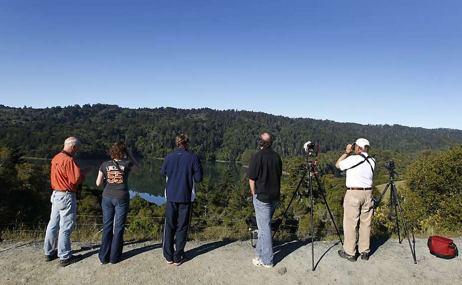 Birdwatchers flock to Crystal Springs Reservoir hoping to catch a glimpse of a pair of bald eagles nesting by the lake near Hillsborough, Calif. on Friday, April 20, 2012. Photo: Paul Chinn, The Chronicle