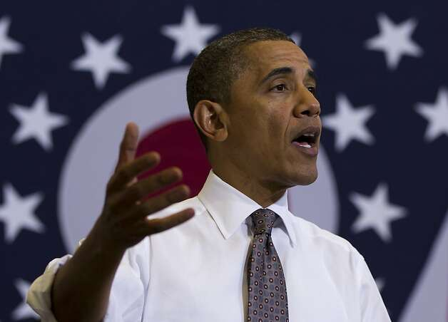 President Barack Obama speaks at Lorain County Community College, Wednesday, April 18, 2012, in Elyria, Ohio., about the economy. Photo: Carolyn Kaster, Associated Press