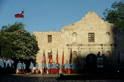 Members of the Texas Cavaliers enter Alamo Plaza for the investiture of King Antonio XC Tom Green on Saturday, April 21, 2012. Billy Calzada / Express-News Photo: BILLY CALZADA, SAN ANTONIO EXPRESS-NEWS / San Antonio Express-News