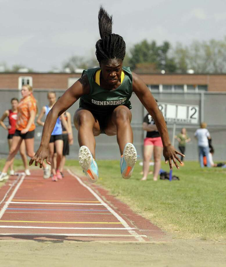 Shenendehowa's Toluwa Akinyemi competes in the long jump during The Lady Eagles Invitational  girls high school track meet in Delmar N.Y. Saturday April 21, 2012. (Michael P. Farrell/Times Union) Photo: Michael P. Farrell