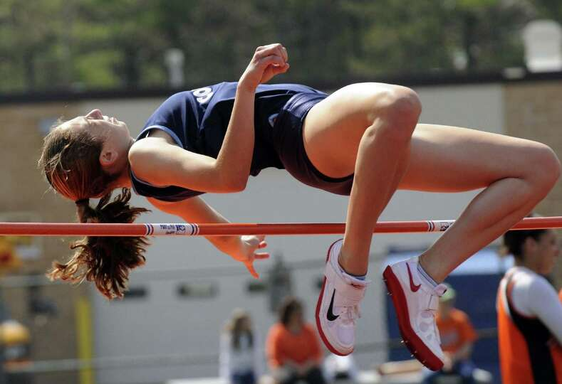 Coumbia's Cali Palumbo competes in the high jump during The Lady Eagles Invitational  girls high sch