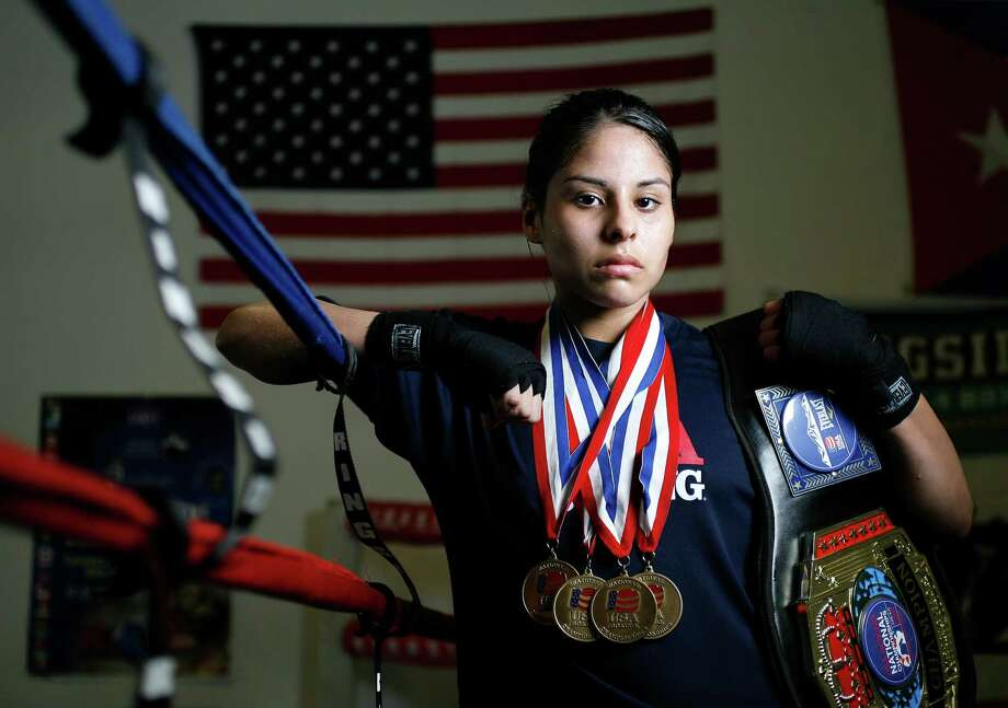 Portrait of Marlen Esparza, 19, a female amateur boxer from Pasadena at Elite Boxing, Tuesday,   June, 16, 2009.  She recently won her fourth U.S. championship in the light flyweight class.  ( Karen Warren / Chronicle ) Photo: Karen Warren