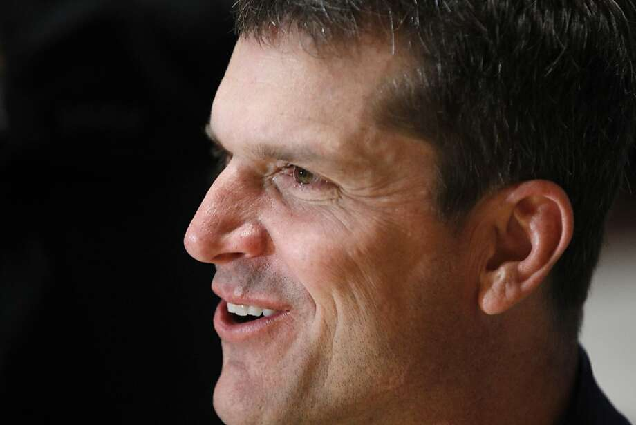 San Francisco 49ers Head coach Jim Harbaugh talks to the media during an interview at the NFL owners meeting in Palm Beach, Fla., Wednesday, March 28, 2012. (AP Photo/Luis M. Alvarez) Photo: Luis M. Alvarez, Associated Press