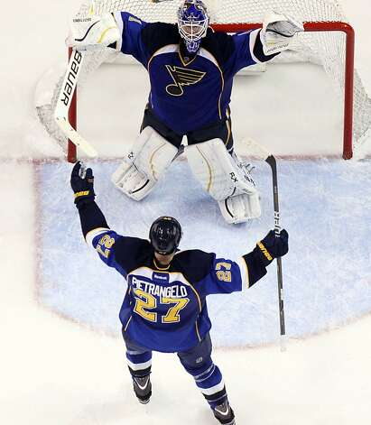 St. Louis Blues defenseman Alex Pietrangelo (27) celebrates with goaltender Brian Elliott as time expires against the San Jose Sharks in Game 5 of an NHL Stanley Cup first-round hockey playoff series, Saturday, April 21, 2012, in St. Louis. The Blues won 3-1 and won the series 4-1. (AP Photo/St. Louis Post-Dispatch, Chris Lee) Photo: Chris Lee, Associated Press