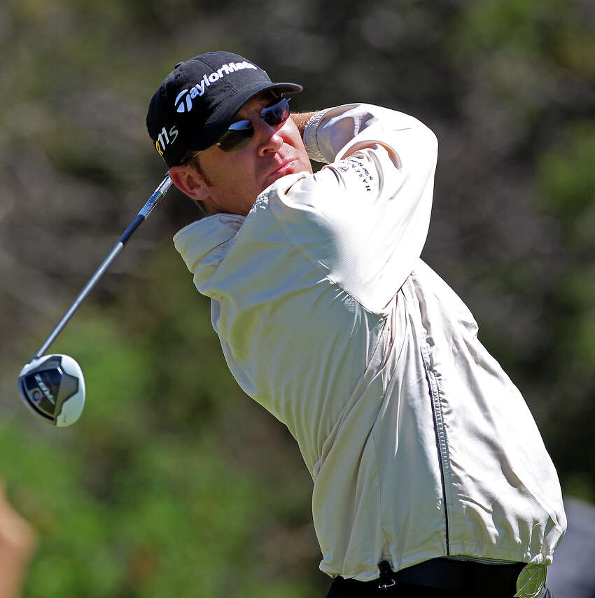 David Mathis starts his day with a jacket on during the third round of the 2012 Valero Texas Open on Saturday, April 21, 2012.