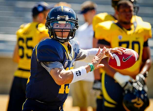 Quarterback Zach Maynard throws during the Cal Football Spring practice at Edwards Stadium in Berkeley, Calif. on Saturday, April 21, 2012. Photo: John Storey, Special To The Chronicle