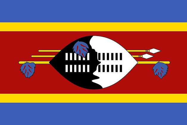 Despite the fierce-looking spears on the 45-year-old Swazi flag, its black-and-white shield is meant to depict racial harmony, according to the government website.