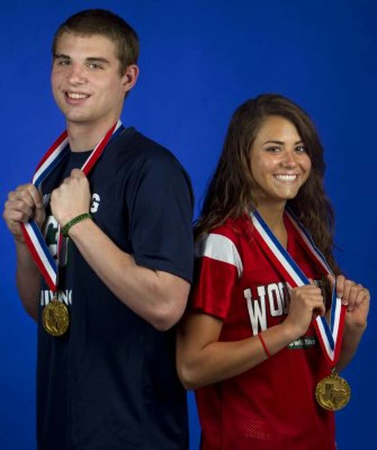 Gray Umbach of College Park and Kassidy Cook of The Woodlands closed out their seasons with record-setting perfomances at the state meet, and they are our swimming and diving athletes of the year. (Cody Duty / Houston Chronicle)