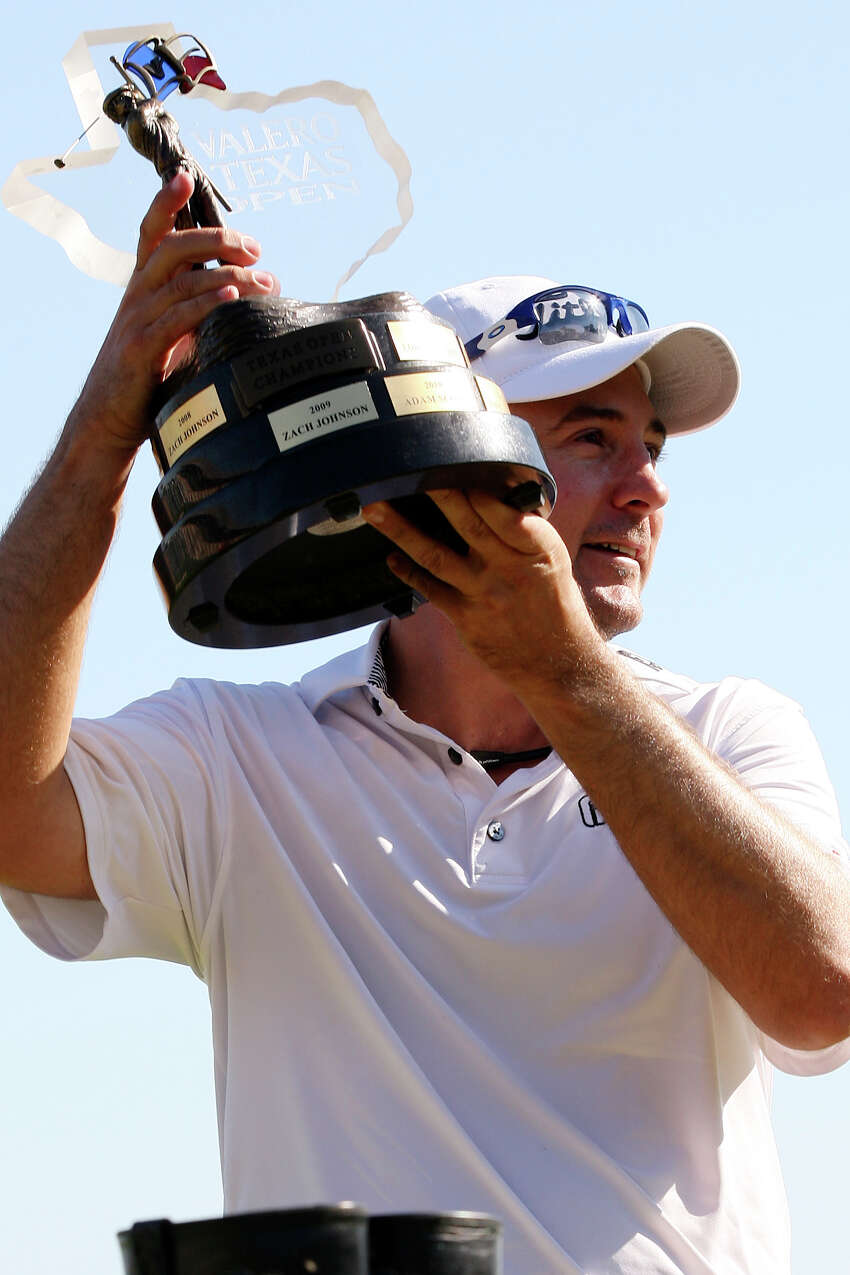 Ben Curtis holds the trophy after winning the 2012 Valero Texas Open at TPC San Antonio, Sunday, April 22, 2012. Curtis ended with a nine-under-par with his playing partners, Matt Every and John Huh tying for second. Curtis took home a check for $1.16 million. Jerry Lara/San Antonio Express-News