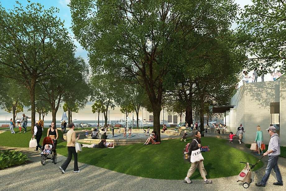 A triangular park, including a playground, along the Embarcadero would sit adjacent to a cafe that adjoins the new health club in the 8 Washington project. Photo: Skidmore Owings And Merrill