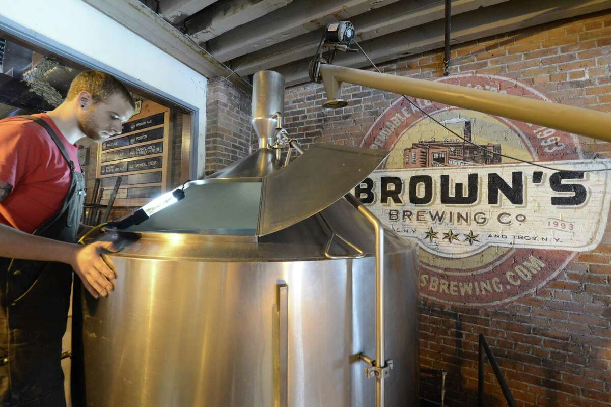 Dan Cramer watches the brewing process at Brown's Brewery in Troy, N.Y. April 20, 2012. (Skip Dickstein/Times Union)