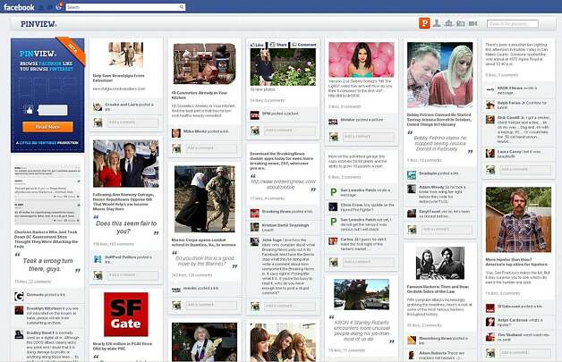 Pin View lets you view your Facebook newsfeed, Timeline, photos, and friends list in grid-like layouts straight out of Pinterest. Photo: A Little Big Ventures Production